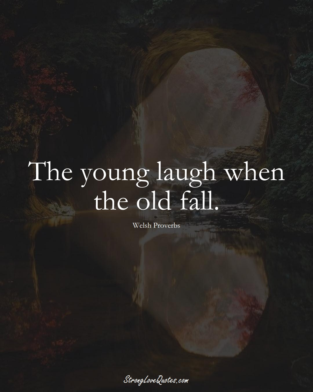The young laugh when the old fall. (Welsh Sayings);  #EuropeanSayings