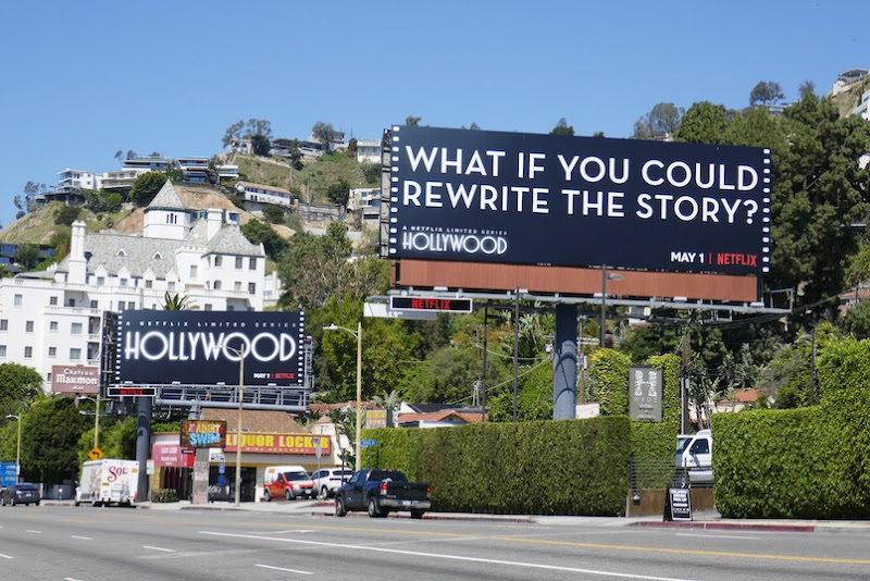 Hollywood rewrite the story billboards Sunset Strip