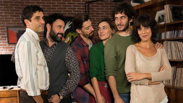 El reparto de la película de Litus (2019): Alex García, Miquel Fernández, Adrián Lastra, María Nieto, Quim Gutiérrez y Belén Cuesta