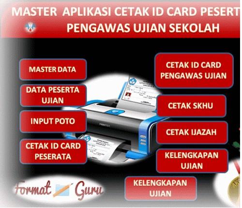 Download Cetak ID card Peserta dan Pengawas Ujian Format Excel Terbaru