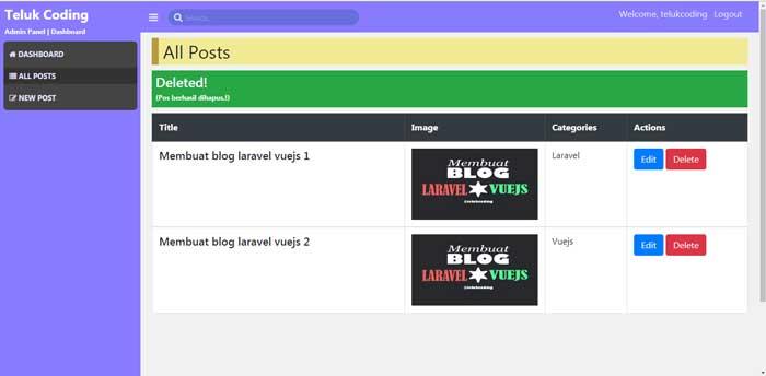 Membuat Blog dengan Laravel & VueJS - #11 | Hapus Data