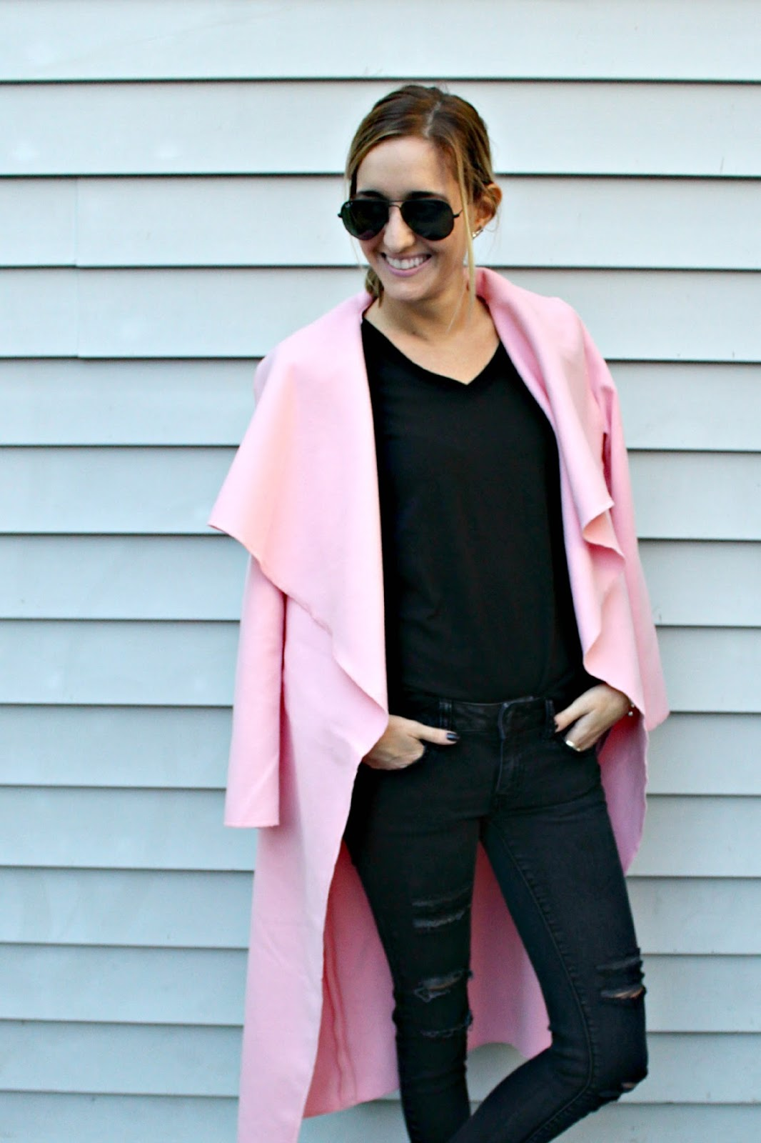 pink wrap coat from shein