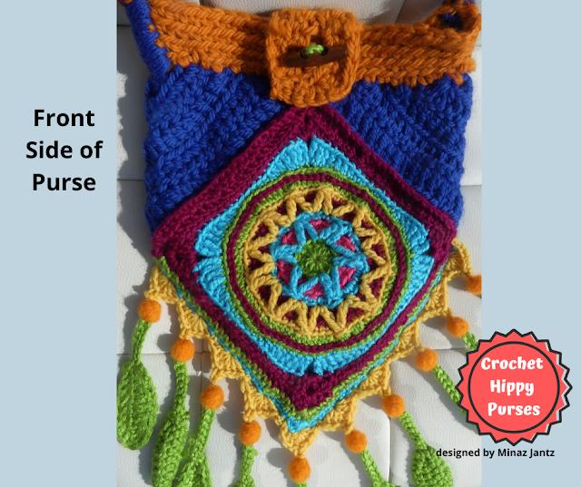 Front VIEW Blue/Orange Crochet Hippy Purse designed by Minaz Jantz