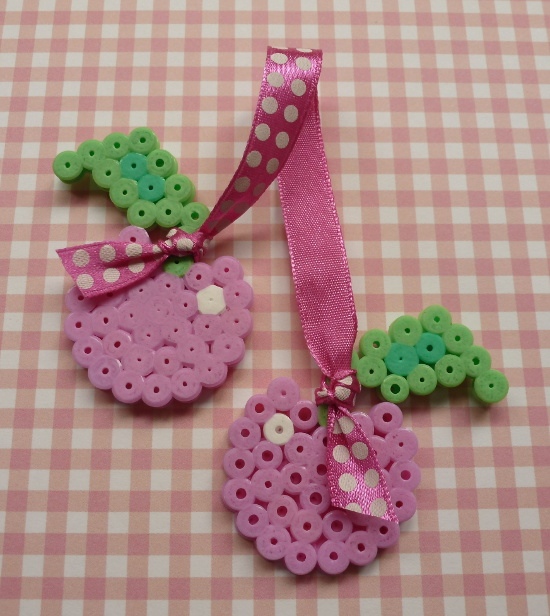 Pink cherries summer fruit bead craft embellishment with pink spotty dots ribbon