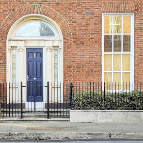 Narrow blue Dublin door on Mountjoy Square