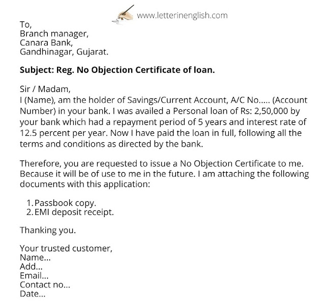 Application for NOC from bank for Personal loan