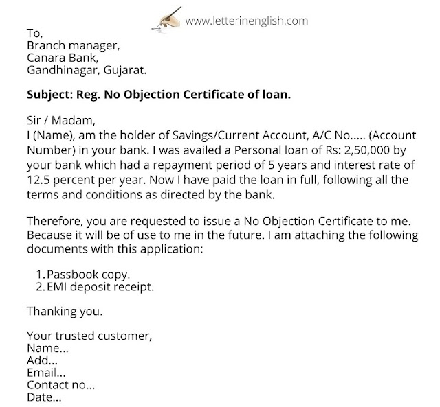Loan closure letter format sample | Application for NOC from Bank