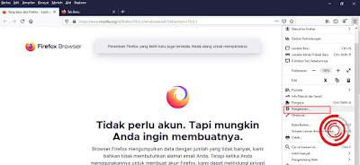 1. Silakan kalian buka aplikasi Mozilla Firefox di Komputer atau Laptop yang kalian miliki lalu pilih Pengaturan