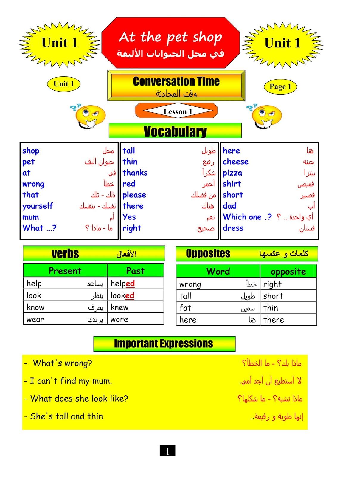 كلمات انجليزي رابع ابتدائي