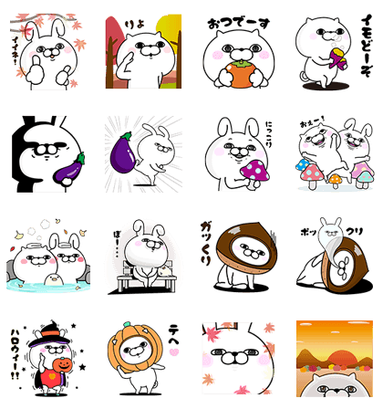 Rabbit and Cat 100%'s Autumn Stickers