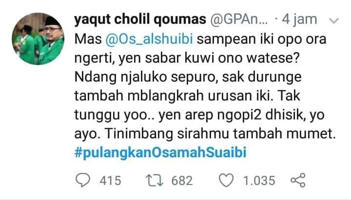 Ketum GP Ansor 'Ancam' Dubes Saudi, Sindiran Netizen Bernada Damai
