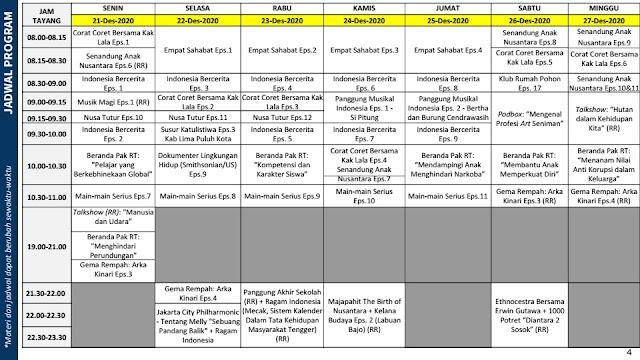 jadwal program belajar dari rumah bdr tvri tanggal 21 22 23 24 25 26 27 desember 2020 tomatalikuang.com