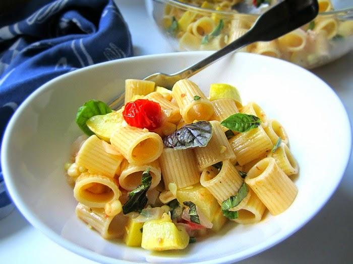 BE NICE Summer Pasta w Squash Corn Garden Produce