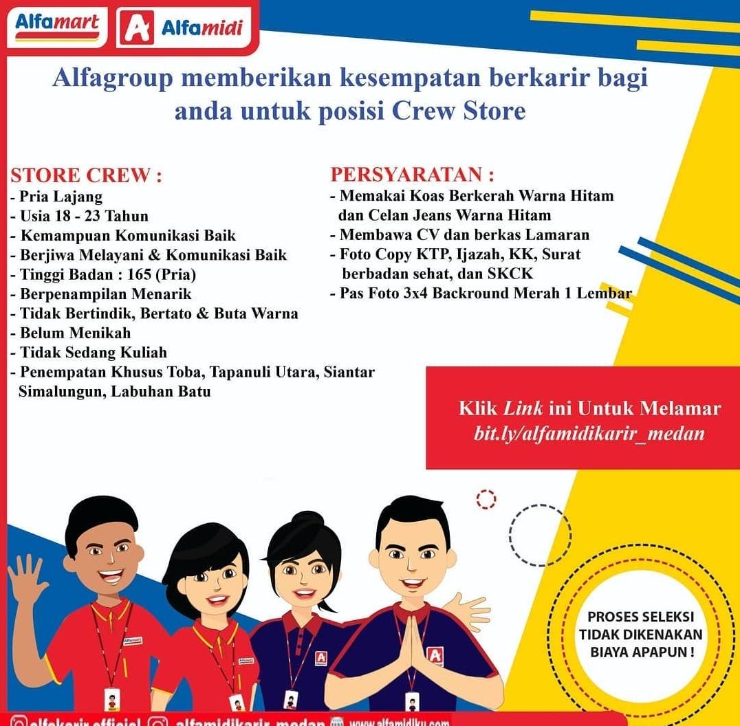 Lowongan Store Crew Alfamidi Medan 2021