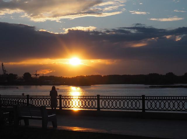 Закат на Ангаре в Иркутске