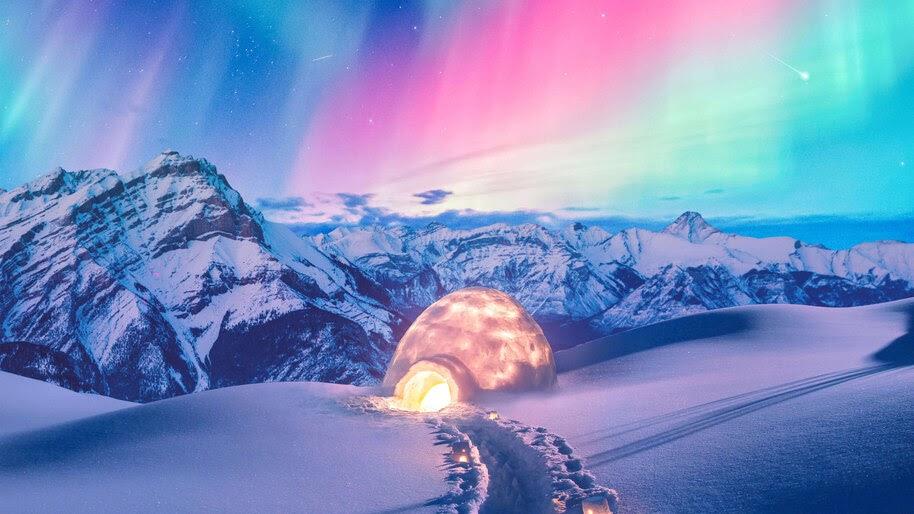 Beautiful, Colorful, Sky, Igloo, Aurora Borealis, Northern, Lights, Scenery, 4K, #6.441
