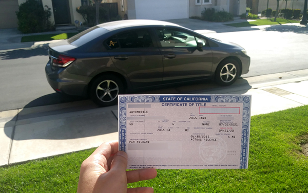 My 2015 Honda Civic is officially paid off as of September 21, 2020.