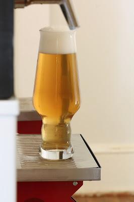 A glass of Brett saison dry hopped with Azacca.