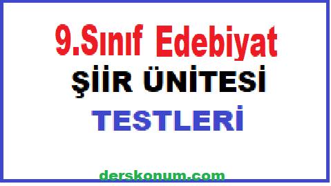 9.Sınıf Türk Dili ve Edebiyatı Şiir Ünitesi Testleri