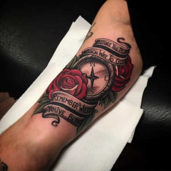 Rose tattoo on arm for men