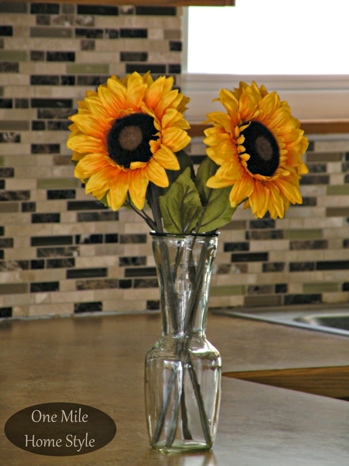 Kitchen Mini-Makeover - Sunflowers and tile backsplash