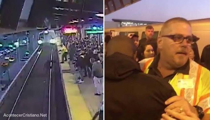 Hombre salva a pasajero de las vías del tren