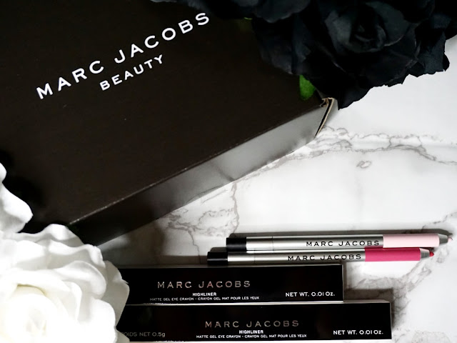 Marc Jacobs beauty Matte Gel Highliners Pink of Me and Pop(ular) without the cap via Influenster packaging flatlay
