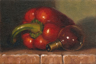 Oil painting of a large red pepper beside a small incandescent light bulb.
