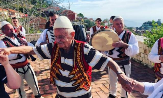 Fikret Tevfik Oktay dressed in Albanian traditional dancing albanian music