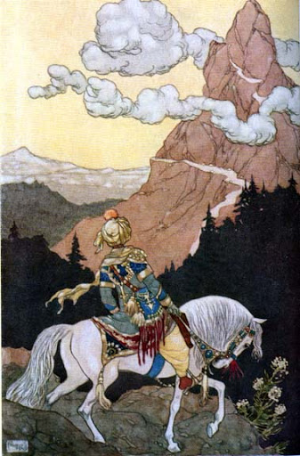 An illustration by Rene Bull from 19th  century Arabian nights book