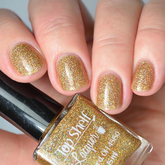 holo gold nail polish swatch