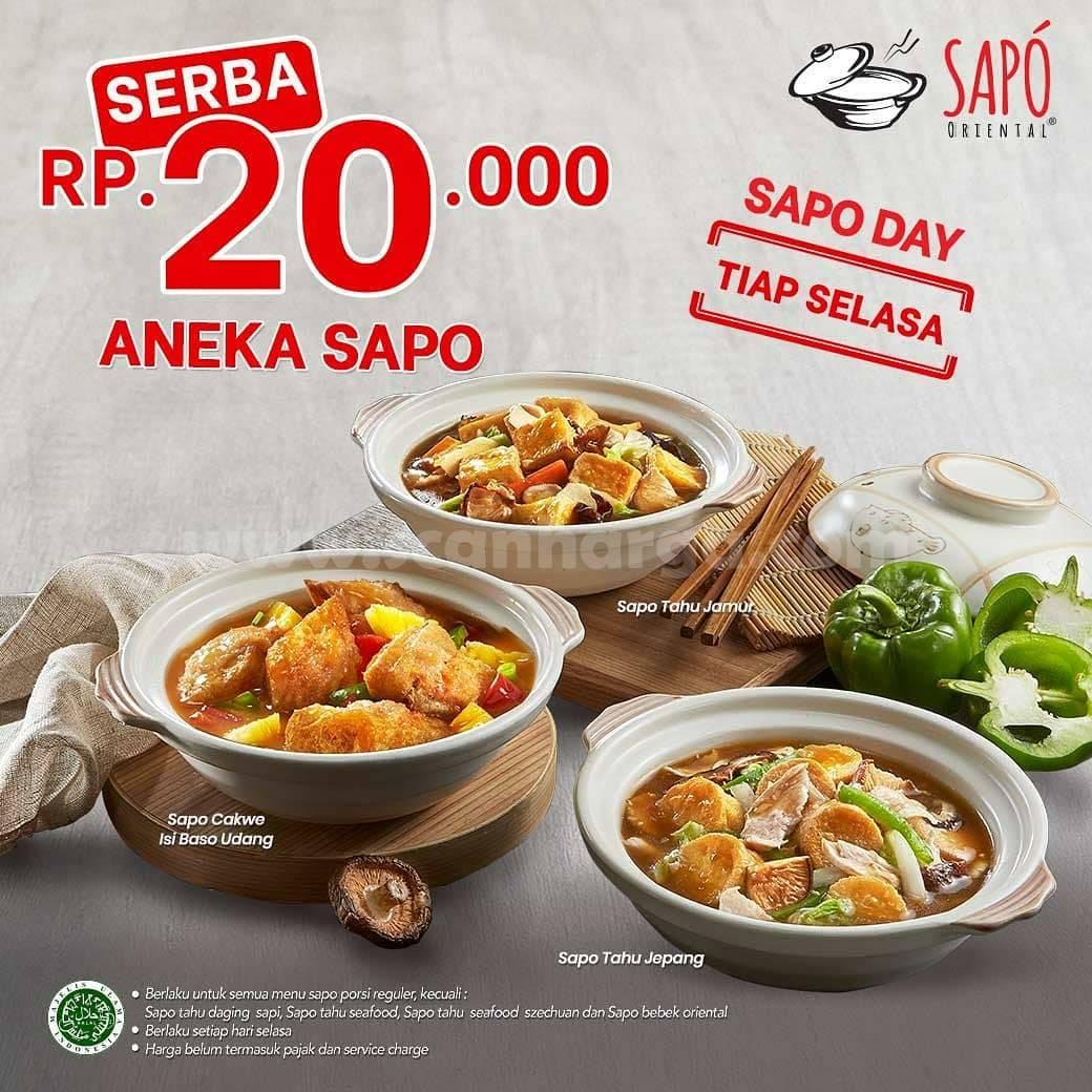 SAPO ORIENTAL Promo SAPO DAY tiap SELASA – Aneka Sapo Serba Rp 20.000
