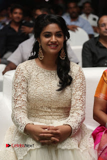 Keerthi Suresh Pictures in Long Dress at Rail Movie Audio Launch ~ Celebs Next
