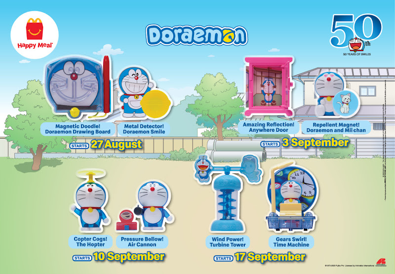 Mainan Happy Meal MCD Doraemon Ogos 2020 - September 2020