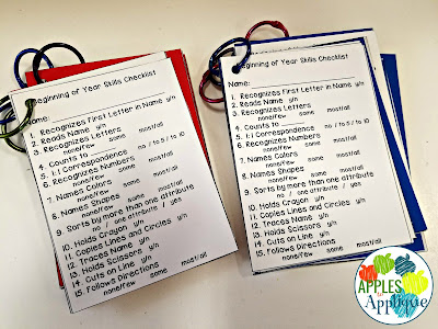 Keeping Organized with Two Half Day Classes. Color coded skills checklists. | Apples to Applique