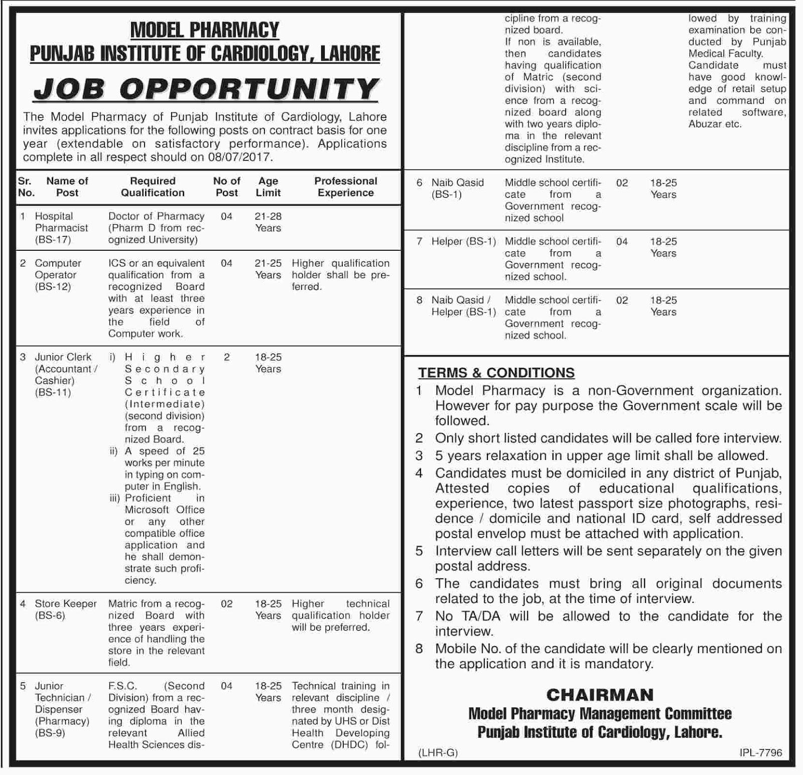 Jobs In Model Pharmacy Punjab Institute Of Cardiology Lahore 12 Jun 2017