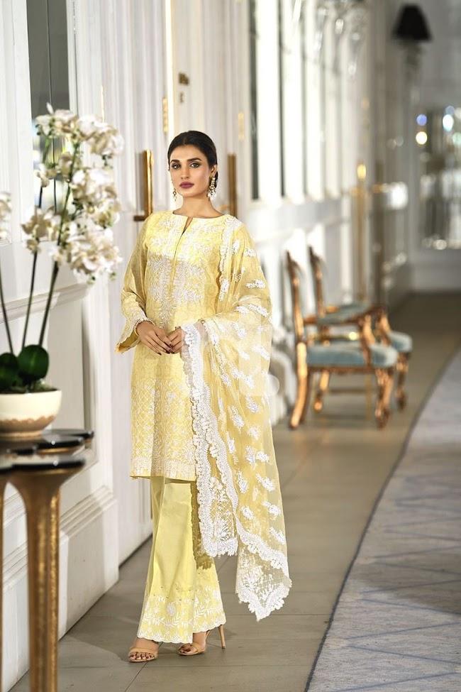 Nishatlinen Unstitched Luxury Yellow Suit