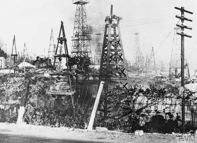 The Yenangyaung oil field destroyed during the British retreat on 16 April 1942 worldwartwo.filminspector.com