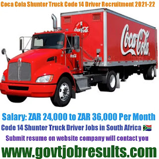 Coca-Cola Shunter Code 14 Truck Driver Recruitment 2021-22