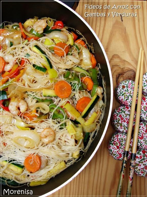 La Cocina De Morenisa Fideos De Arroz Con Gambas Y Verduras