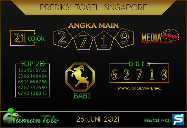Prediksi Togel SINGAPORE TAMAN TOTO 28 JUNI 2021