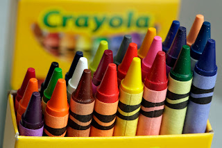 CRAYONS (Sticks in a box?)