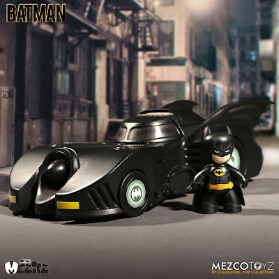 1989 Batmobile Vehicle Set with Batman Mini Mez-Itz Vinyl Figure by Mezco Toyz x DC Comics