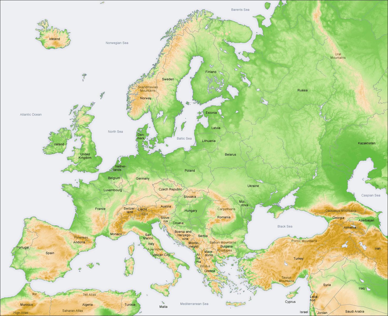 Europa   Geografiske Kort over Europa