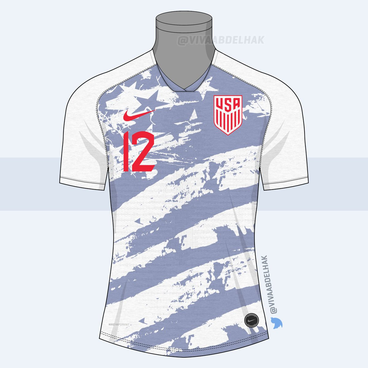 c65c00d0ebb Inspired by the infamous USA 1994 World Cup kit by Adidas, Vivaabdelhak's  USA concept is white with a grey Stars and Stripes graphic design.