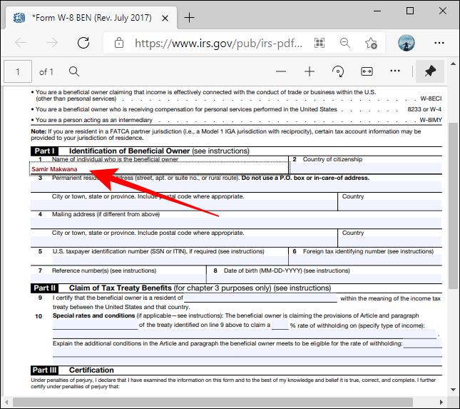 شكل PDF المربعات المميزة في Microsoft Edge