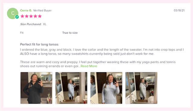 Customer review with photos