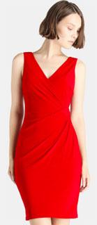 vestido rojo sin mangas cruzado para navidad 2018