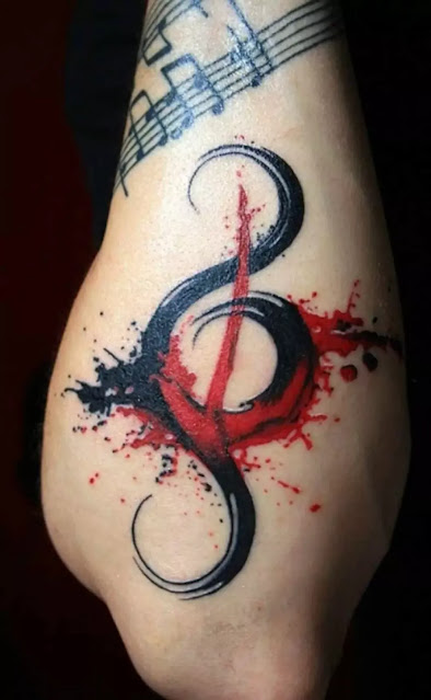 Forearm Music Symbol red black Tattoos
