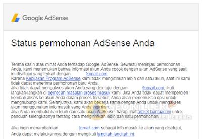 Penyebab dan Cara Mengatasi Google AdSense Ditolak alasannya ialah Terkait dengan Email Lain Inilah 4 Cara Jitu Mengatasi AdSense di Tolak alasannya ialah Terkait Email Lain